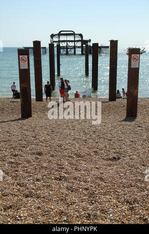 Brighton, UK - September 1 2018: General view of the seaside resort town of ​Brighton​  on 1​ September 2018.   The Pier, in the central waterfront section, opened in 1899 houses amusment rides as well as food kiosks .Credit: David Mbiyu Credit: david mbiyu/Alamy Live News - Stock Image