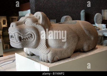 Jaguar or Ocelotl Cuauhxicalli, National Museum of Anthropology, Chapultepec Park, Mexico City, Mexico - Stock Image