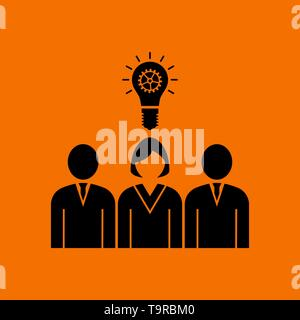 Corporate Team Finding New Idea With Woman Leader Icon. Black on Orange Background. Vector Illustration. - Stock Image