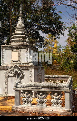Cambodia, Phnom Penh, Oudong, Phreah Reach Traop Mountain, small memorial stupa on top of the hill - Stock Image