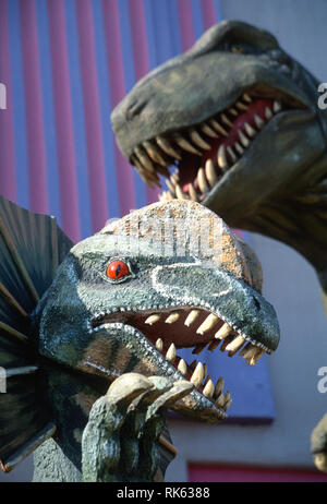 Dinosaur Replicas in Event Business space, USA - Stock Image