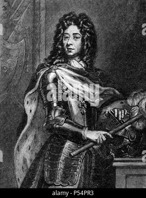 Portrait of Prince Eugene of Savoy from Cassell's History of England King's Edition Part 29 after the portrait by Sir Godfrey Kneller - Stock Image