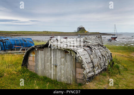 Weathered hull of shed made of overturned boat cut in half on Holy Island with Lindisfarner Castle ruins under renovation England UK - Stock Image