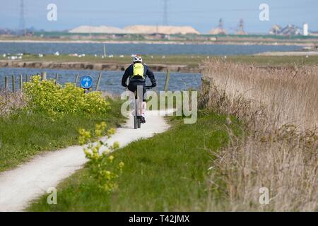Camber, East Sussex, UK. 13 Apr, 2019. UK Weather: Sunny intervals at Camber in East Sussex. A cyclist uses one of the many paths that skirt the salt flats in the area. © Paul Lawrenson 2019, Photo Credit: Paul Lawrenson/Alamy Live News - Stock Image