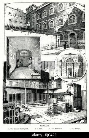 Interior of Newgate prison in London. - Stock Image