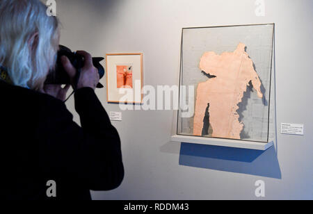 Prague, Czech Republic. 18th Jan, 2019. Exhibition 'Force of Act. Jan Palach and Jan Zajic In Art Between 1969 and 2009' was opened in the Museum Kampa in Prague, Czech Republic, on January 18, 2019. On the right side is seen piece called 'Pink Torso - Tribute to Jan Palach' by Adriena Simotova. Credit: Vit Simanek/CTK Photo/Alamy Live News - Stock Image