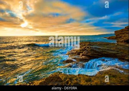 Sunset Cliffs Beach California - Stock Image