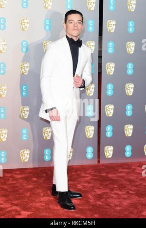 London, UK. 10th Feb, 2019. LONDON, UK. February 10, 2019: Rami Malek arriving for the BAFTA Film Awards 2019 at the Royal Albert Hall, London. Picture: Steve Vas/Featureflash Credit: Paul Smith/Alamy Live News - Stock Image