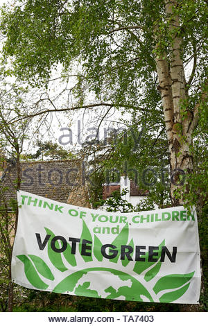Green Party Election posters in Charlbury in the Cotswolds in Oxfordshire with Britain approaching Brexit. - Stock Image