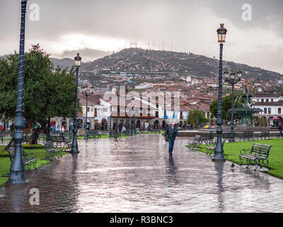 Cusco, Peru - January 6, 2017. View of the Plaza de Armas square in a rainy day - Stock Image