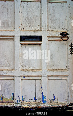 Old White Door - Stock Image