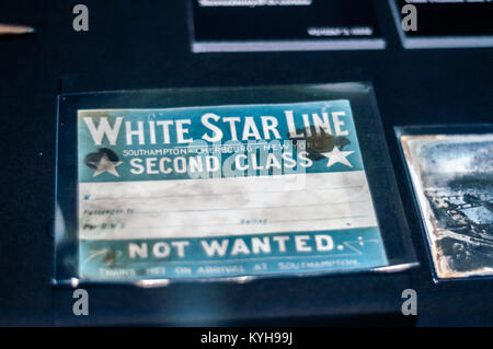 Titanic-Original luggage label, recovered from Titanic wreck - Stock Image
