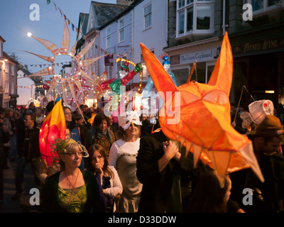Totnes lantern procession in Devon in Britain - Stock Image