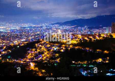 Aerial view of Medellin at night in Colombia - Stock Image