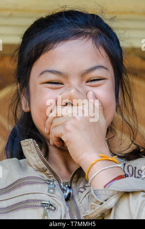 Portrait of a young Laotian girl, Vang Vieng, Laos - Stock Image