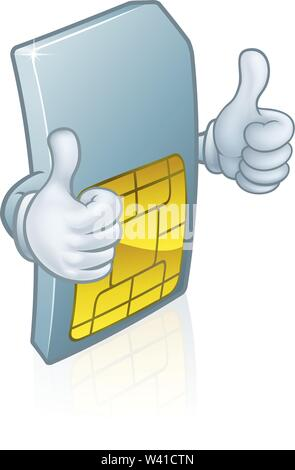 Mobile Phone Sim Card Cartoon Mascot - Stock Image