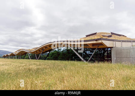 The new Macallan distillery single malt Scotch whisky distillery in Craigellachie Moray Scotland UK as seen from east - Stock Image