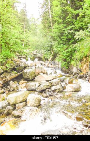 Waterfall Uelhs deth Joeu. Aran valley in the Catalan Pyrenees, Spain - Stock Image