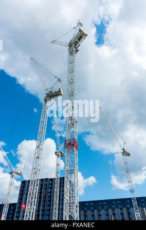 Tower cranes at the Circle Square office and residential development, Oxford Road, Manchester, England, UK - Stock Image