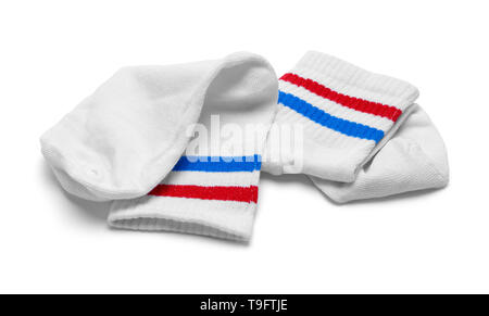 Two Red, White and Blue Striped Socks Isolated on White. - Stock Image