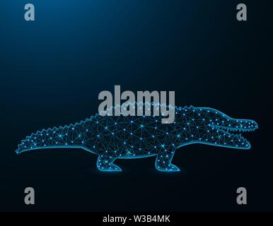 Crocodile low poly model, African animal polygonal wireframe, reptile vector illustration on dark blue background - Stock Image