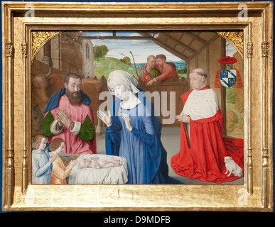 Oil on wood painting of Nativity of Cardinal Rolin by Le Maitre de Moulin Jean Hey dated 1480 AD Rolin Museum Autun - Stock Image