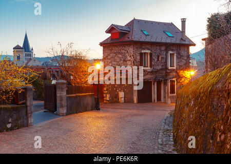 Cozy street in Old Town of Annecy, France - Stock Image
