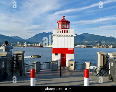Lighthouse at Brockton Point in Stanley Park, Vancouver, Canada. - Stock Image