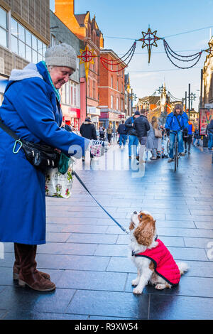 A dog waits for a treat in a busy city centre street. - Stock Image
