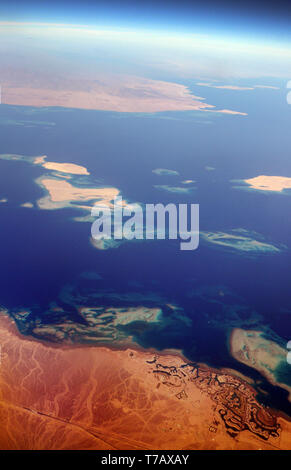 An aerial view of the tourism development of El Gouna north of Hurghada on the Red Sea cost of Egypt. - Stock Image