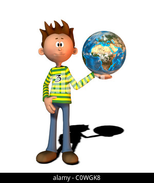 boy with globe comic style illustration - Stock Image