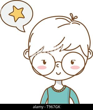 Stylish boy blushing cartoon outfit speech bubble star portrait  vector illustration graphic design - Stock Image