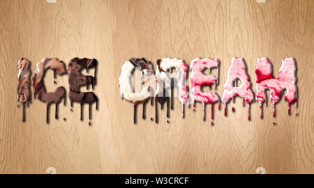 Ice Cream word covered with melting ice cream on a wooden cutting board - Stock Image
