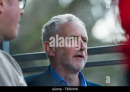 Jeremy Corbyn before he addressed the crowd at a save the NHS protest through London and gathered outside Westminster. - Stock Image
