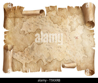 Ancient worn treasure map isolated - Stock Image