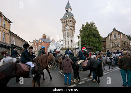 Clock tower Hay on Wye with Boxing day hunt meeting - Stock Image