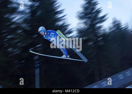 Jacqueline Seifreidsberge, Austria on her first ski-jump for qualification for World Championship in Ski Jumping - Stock Image