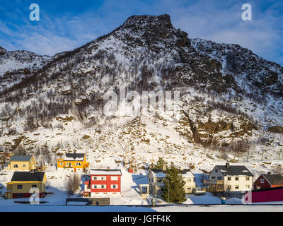 Landscape view of residential area of the village of Øksfjord, Finnmark County, Norway. - Stock Image