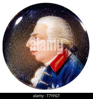 Richard Collins, miniature gold brooch Portrait of George III of the United Kingdom (1738-1820), c. 1790 - Stock Image