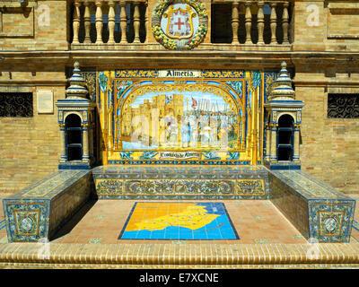 Mosaic bench seat in the Plaza de Espana - Stock Image