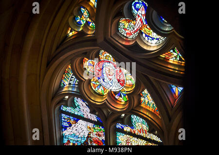 Stained Glass window detail from inside St Vitus Cathedral, Prague, Czech Republic. Gothic style. - Stock Image