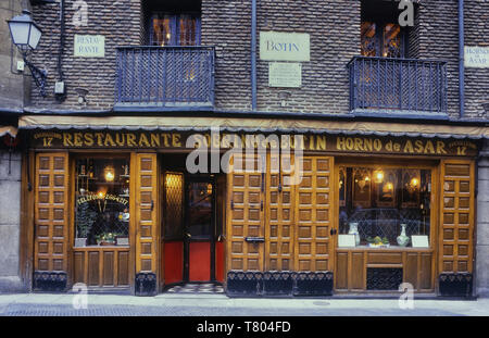 Sobrino de Botín restaurant, Madrid, Spain. Circa 1980's - Stock Image