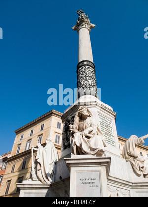 Column near Spanish Steps Rome Lazio Italy - Stock Image