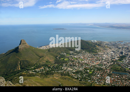 Lion's Head, Sea Point, Signal Hill, Robben Island and Green Point Stadium from Table Mountain, Cape Town, Western - Stock Image