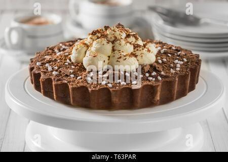 Chocolate cappuccino tart - Stock Image