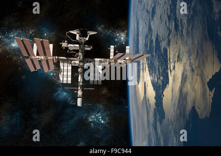 A depiction of the space shuttle docked at the International Space Station orbiting Earth. - Stock Image