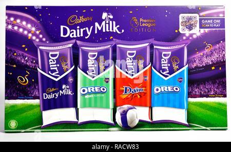 Cadbury football selection box with QR code - Stock Image