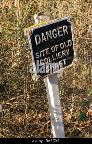Notice Danger Site of Old Colliery Shaft, Beamish Museum, England, UK - Stock Image