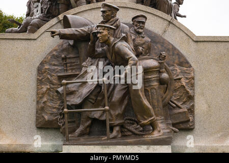 Liverpool Wirral Port Sunlight Village WWI WWII first second world war monument war memorial staff employees killed died sacrificed lives bronze navy - Stock Image