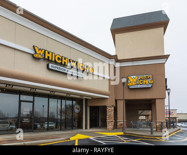 HICKORY, NC, USA-1/3/19: Which Wich is an American fast food restaurant chain, currently with 400 locations in 36 states and D.C. - Stock Image